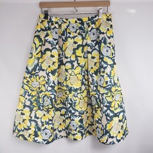 H & M White Yellow Floral A Line Midi Skirt